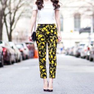 Zara Lemon Print Crop Pants